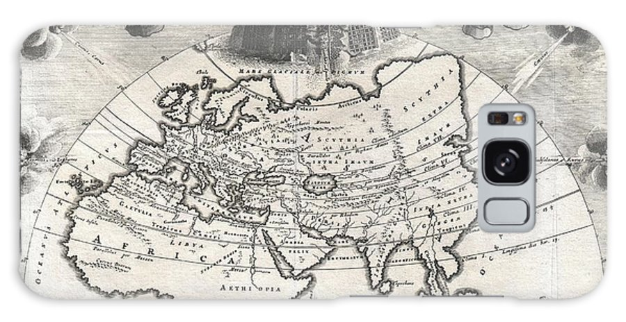 A Rare And Beautifully Engraved Map Of The Old World Divided Into Seven Climatic Zones According To The Ancient Greek Geographer Strabo. Depicts Europe Galaxy S8 Case featuring the photograph 1700 Cellarius Map Of Asia Europe And Africa According To Strabo by Paul Fearn