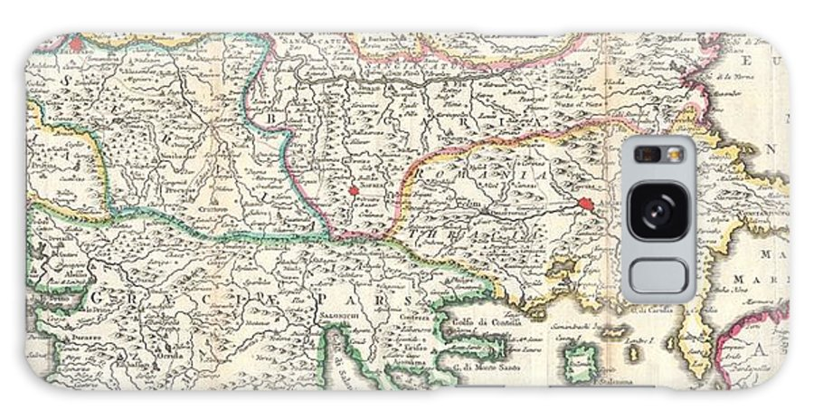 This Is A Rare And Unusual 1738 Map Of The Balkans By J. Ratelband. Likely Revised And Updated From Earlier Charts By The De La Feuille Family. Depicts From Modern Day Albania (dalmatia) Eastward Through Bosnia Galaxy S8 Case featuring the photograph 1738 Ratelband Map Of The Balkans by Paul Fearn