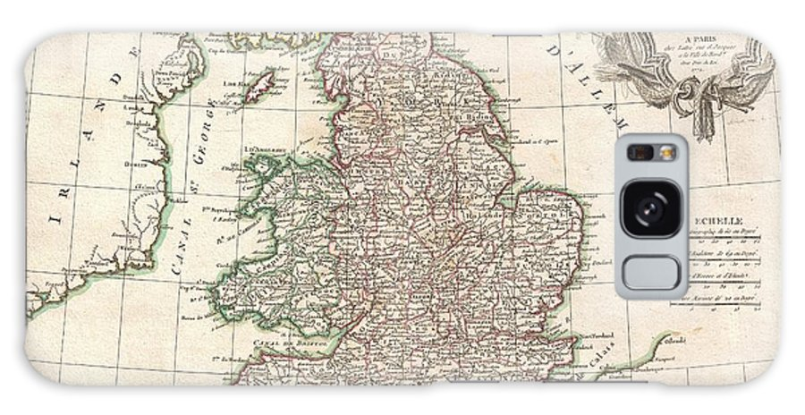 A Beautiful Example Of Rigobert Bonne's 1771 Decorative Map Of England And Wales. Covers All Of England And Wales As Well As Parts Of Adjacent Scotland Galaxy S8 Case featuring the photograph 1772 Bonne Map Of England And Wales by Paul Fearn