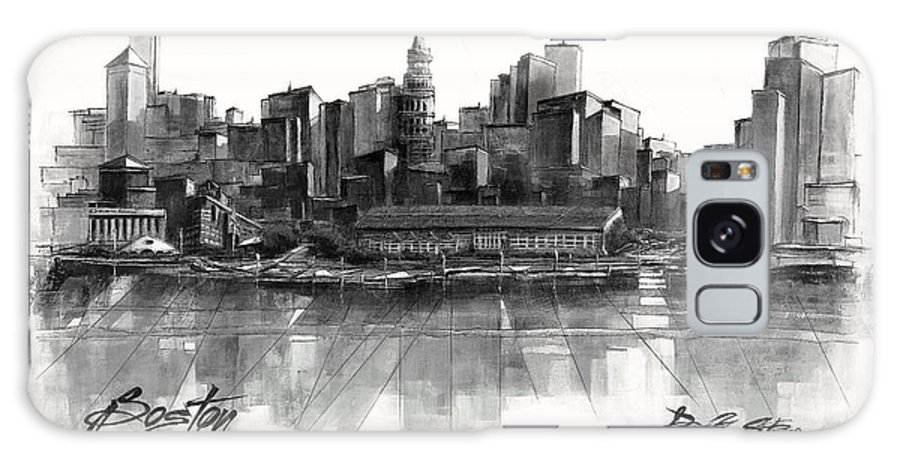 Fineartamerica.com Galaxy S8 Case featuring the painting Boston Skyline by Diane Strain