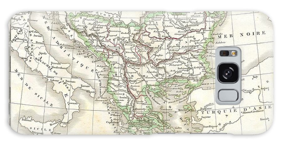 This Hand Colored Map Is A Copper Plate Engraving Galaxy S8 Case featuring the photograph 1832 Delamarche Map Of Greece And The Balkans by Paul Fearn