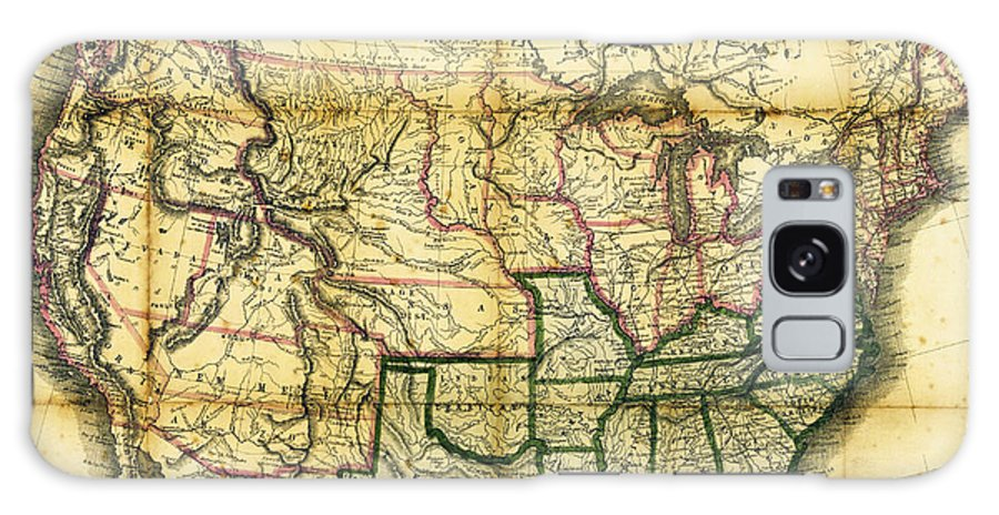 Map Galaxy S8 Case featuring the photograph 1861 United States Map by Daniel Hagerman