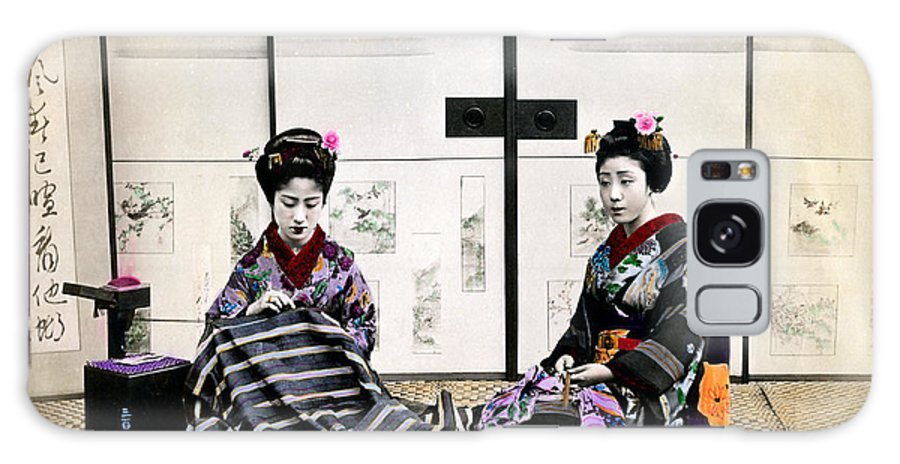 Japan Galaxy S8 Case featuring the photograph 1870 Japanese Geisha In Drawing Room by Historic Image