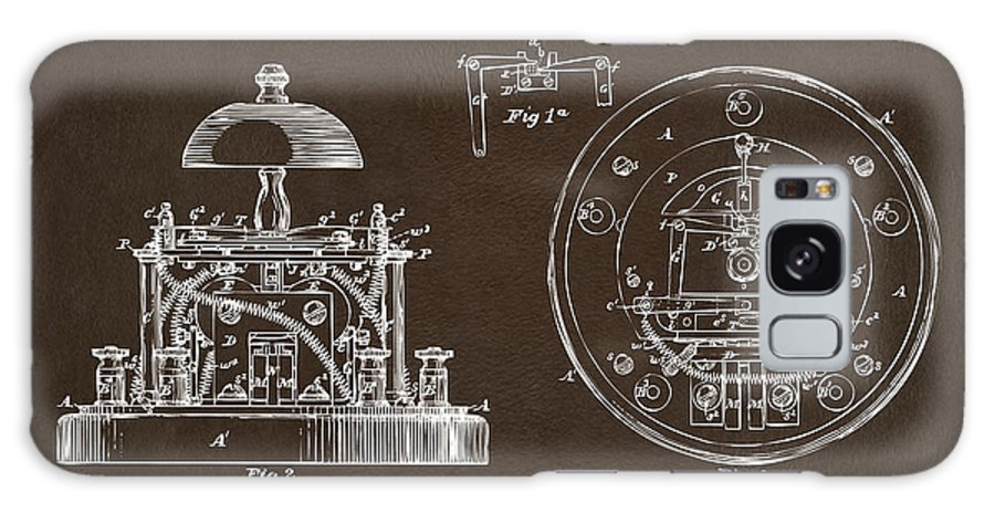 Alexander Graham Bell Galaxy S8 Case featuring the digital art 1881 Alexander Graham Bell Electric Call Bell Patent Espresso by Nikki Marie Smith