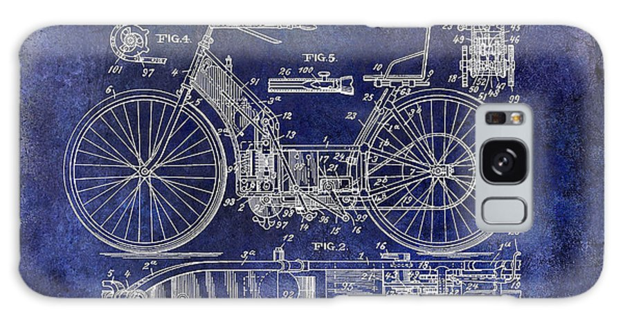 Motorcycle Patent Galaxy S8 Case featuring the photograph 1901 Motorcycle Patent Drawing Blue by Jon Neidert