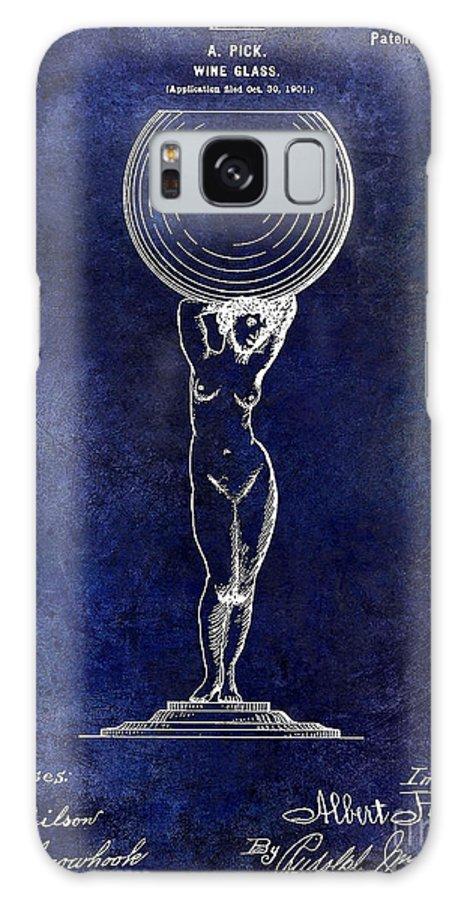 Wine Glass Patent Drawing Galaxy S8 Case featuring the photograph 1901 Wine Glass Design Patent Blue by Jon Neidert