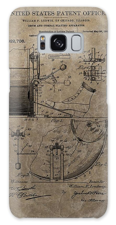 1909 Drum Patent Galaxy Case featuring the drawing 1909 Drum Patent by Dan Sproul