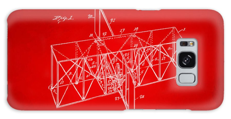 Wright Brothers Galaxy S8 Case featuring the digital art 1914 Wright Brothers Flying Machine Patent Red by Nikki Marie Smith