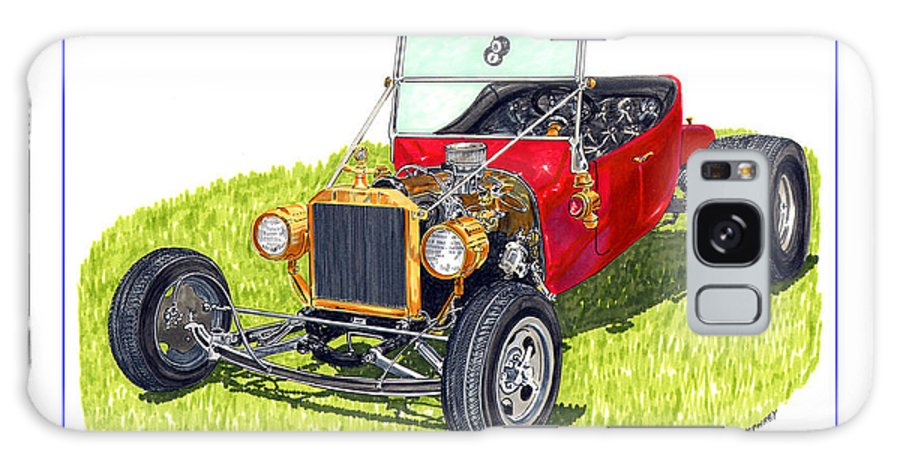 Framed Pen And Ink Images Of Classic Ford Cars. Pen And Ink Drawings Of Vintage Classic Cars. Black And White Drawings Of Cars From The 1920's Galaxy S8 Case featuring the painting T Bucket Ford 1923 by Jack Pumphrey