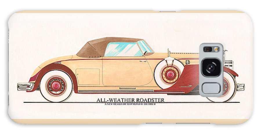 Car Art Galaxy S8 Case featuring the painting 1932 Packard All Weather Roadster By Dietrich Concept by Jack Pumphrey
