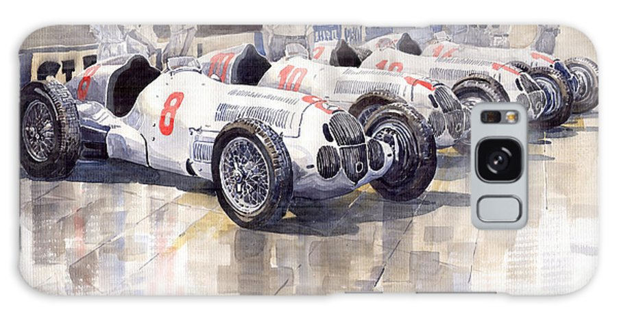 Watercolour Galaxy S8 Case featuring the painting 1937 Monaco Gp Team Mercedes Benz W125 by Yuriy Shevchuk