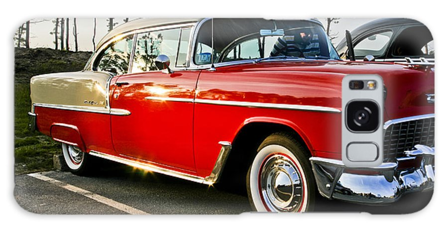 Transportation Galaxy S8 Case featuring the photograph 1955 Chevy Bel Air Down The Side - Red And White by Dennis Coates