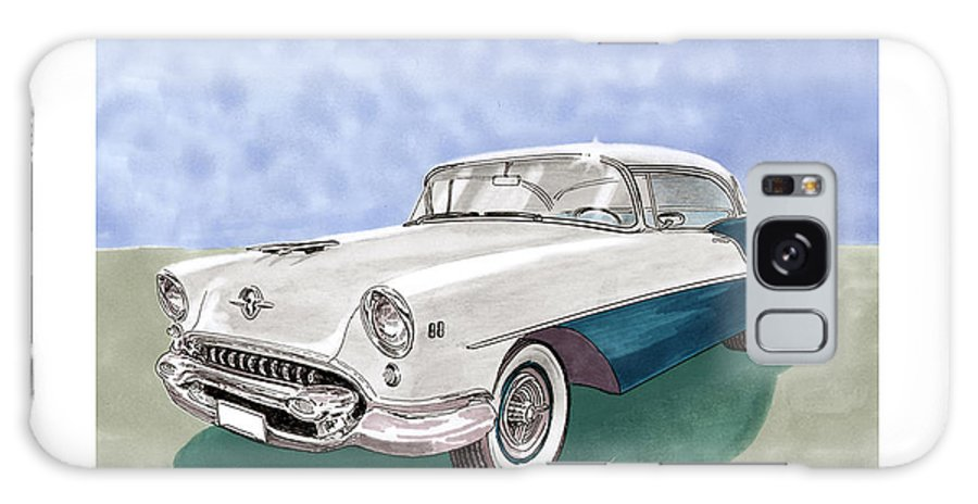 Classic Car Art Galaxy S8 Case featuring the painting 1955 Oldsmobile Holiday 88 by Jack Pumphrey