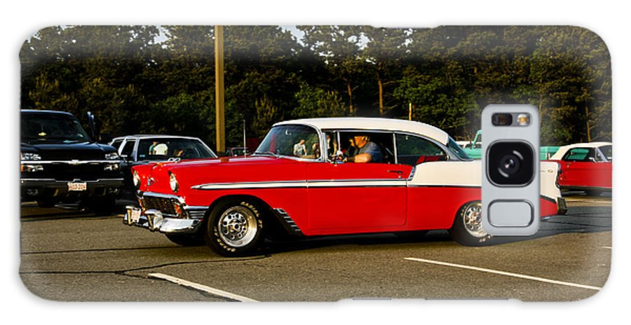Transportation Galaxy S8 Case featuring the photograph 1956 Chevy Bel Air Red And White by Dennis Coates