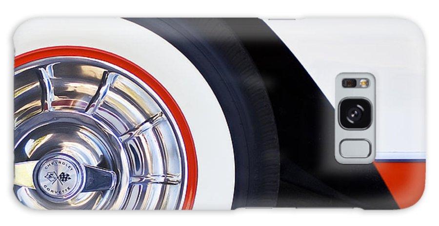 1957 Chevrolet Corvette Convertible Wheel Galaxy S8 Case featuring the photograph 1957 Chevrolet Corvette Wheel by Jill Reger
