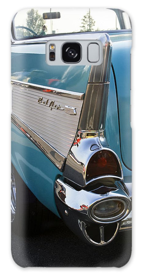 Transportation Galaxy S8 Case featuring the photograph 1957 Chevy Bel Air Blue Rear Quarter From Back by Dennis Coates