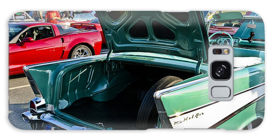 Transportation Galaxy S8 Case featuring the photograph 1957 Chevy Bel Air Green Rear Trunk Open by Dennis Coates