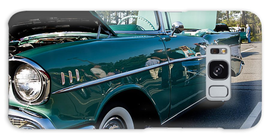 Transportation Galaxy S8 Case featuring the photograph 1957 Chevy Bel Air Green Right Side by Dennis Coates