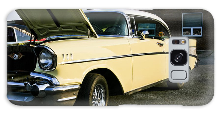 Transportation Galaxy S8 Case featuring the photograph 1957 Chevy Bel Air Yellow Down The Side by Dennis Coates