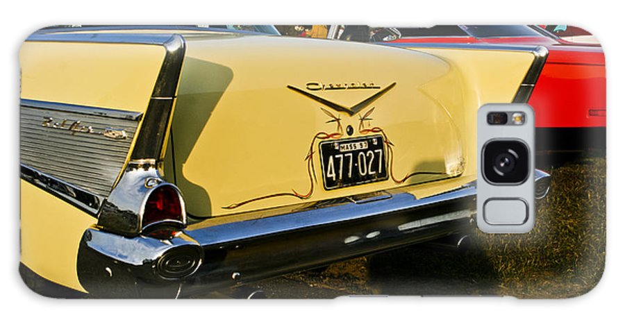 Transportation Galaxy S8 Case featuring the photograph 1957 Chevy Bel Air Yellow From Rear Quater by Dennis Coates