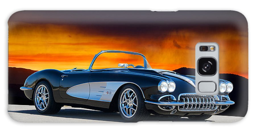Auto Galaxy S8 Case featuring the photograph 1958 Corvette At Sunset by Dave Koontz