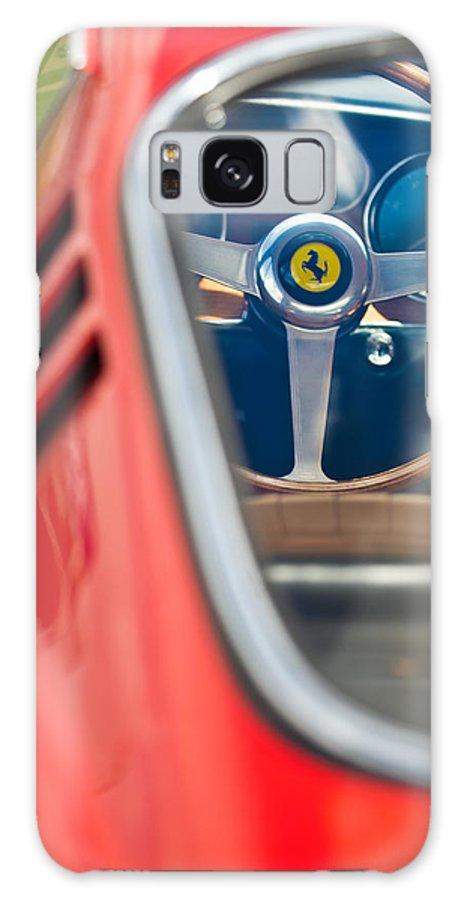 1966 Ferrari 275 Gtb Steering Wheel Galaxy S8 Case featuring the photograph 1966 Ferrari 275 Gtb Steering Wheel -0408c by Jill Reger