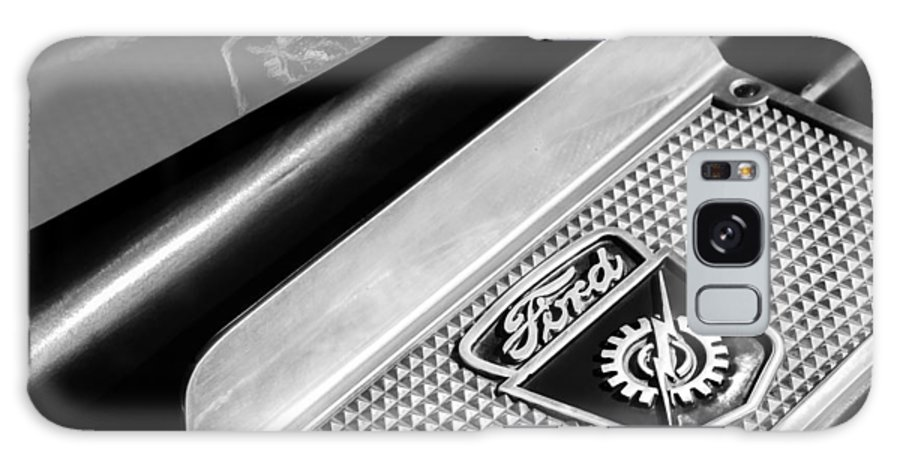 1949 Ford F-1 Pickup Truck Step Plate Emblem Galaxy S8 Case featuring the photograph 1949 Ford F-1 Pickup Truck Step Plate Emblem -0043bw by Jill Reger