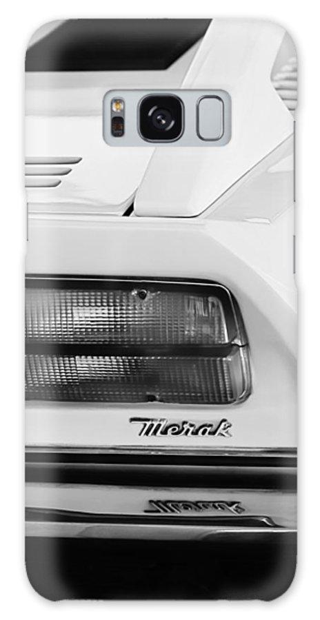 1974 Maserati Merak Taillight Emblem Galaxy S8 Case featuring the photograph 1974 Maserati Merak Taillight Emblem -1265bw by Jill Reger