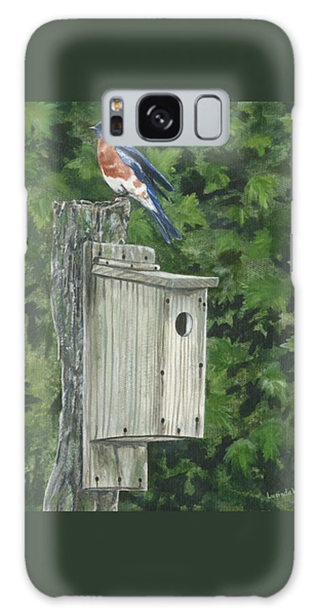 Bluebird Galaxy S8 Case featuring the painting Backyard Bluebird 2 by Lucinda V VanVleck