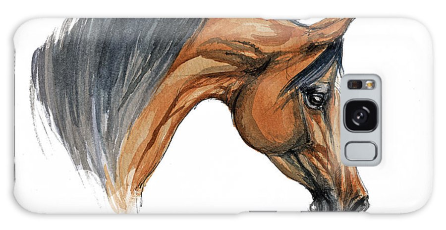 Horse Galaxy S8 Case featuring the painting Bay Arabian Horse Watercolor Painting by Angel Ciesniarska