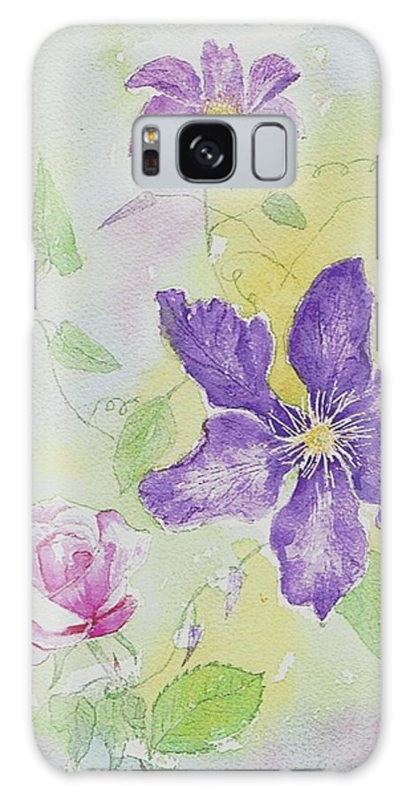 Clematis Galaxy S8 Case featuring the painting Clematis And The Rose by Jackie Curtis