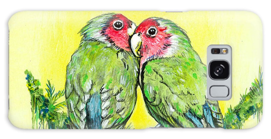 Lovebird Galaxy Case featuring the painting Everything Is Just Peachy by Richard Brooks