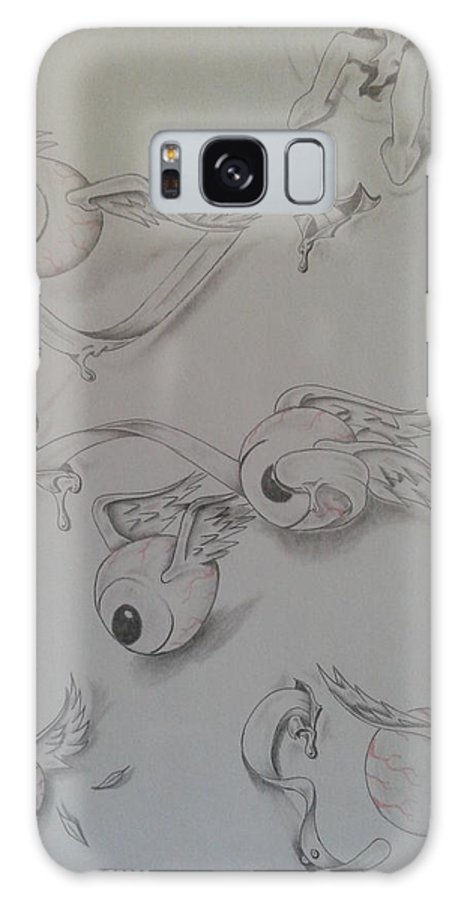Eyes Tongue Goblin Wing Feather Galaxy S8 Case featuring the drawing Eye Goblin by Jeffrey Lamey