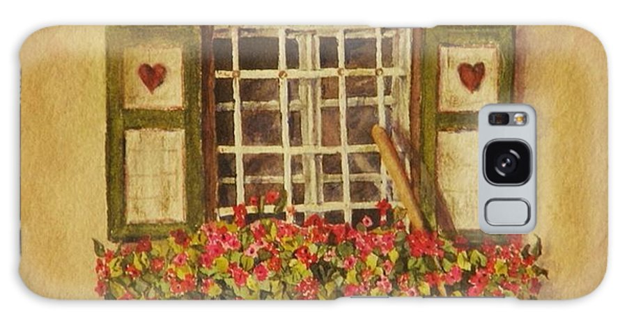 Rural Galaxy Case featuring the painting Farm Window by Mary Ellen Mueller Legault