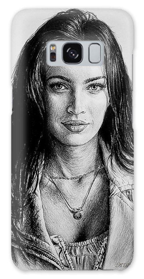 Megan Fox Galaxy S8 Case featuring the drawing Foxy by Andrew Read