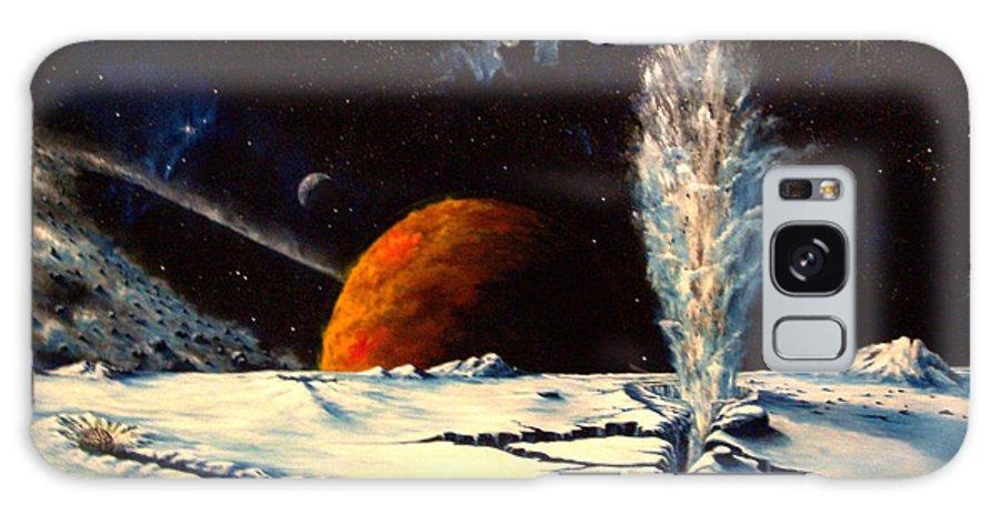 Landscape. Geyser Galaxy Case featuring the painting Frozen Geyser by Murphy Elliott