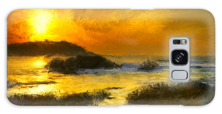 Yellow Galaxy S8 Case featuring the painting Golden Sky by Bruce Nutting