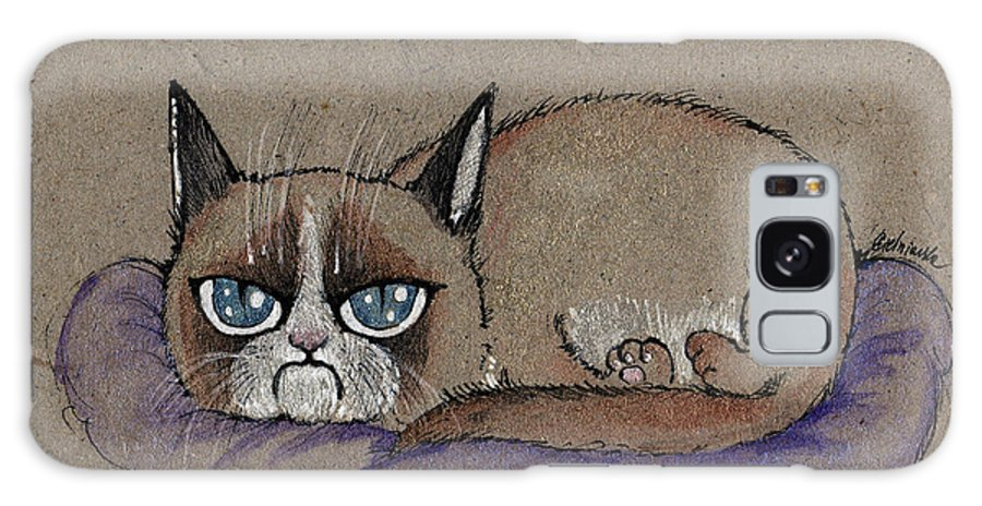 Cat Galaxy S8 Case featuring the painting Grumpy Cat Having Some Rest by Angel Ciesniarska