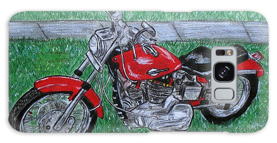 Harley Galaxy S8 Case featuring the painting Harley Red Sportster Motorcycle by Kathy Marrs Chandler
