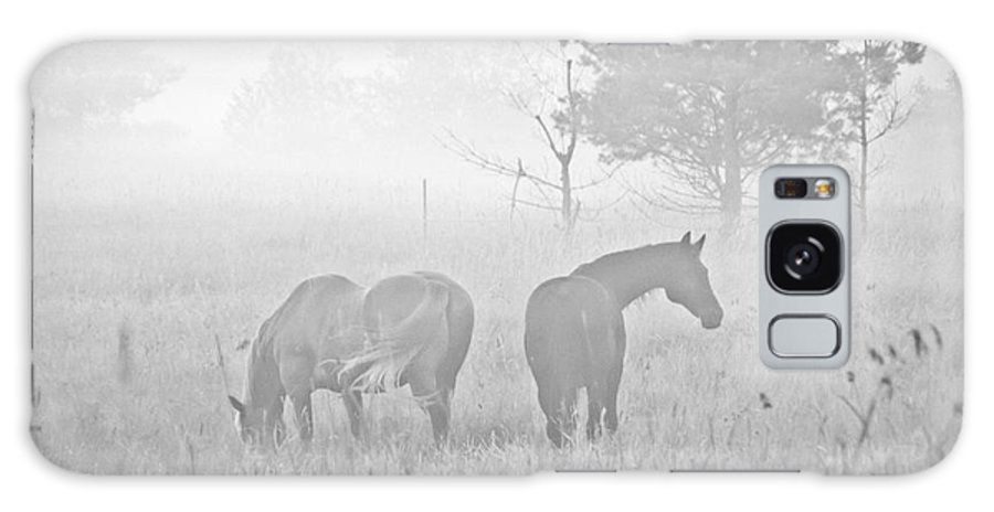 Landscape Galaxy S8 Case featuring the photograph Horses In The Fog by Cheryl Baxter