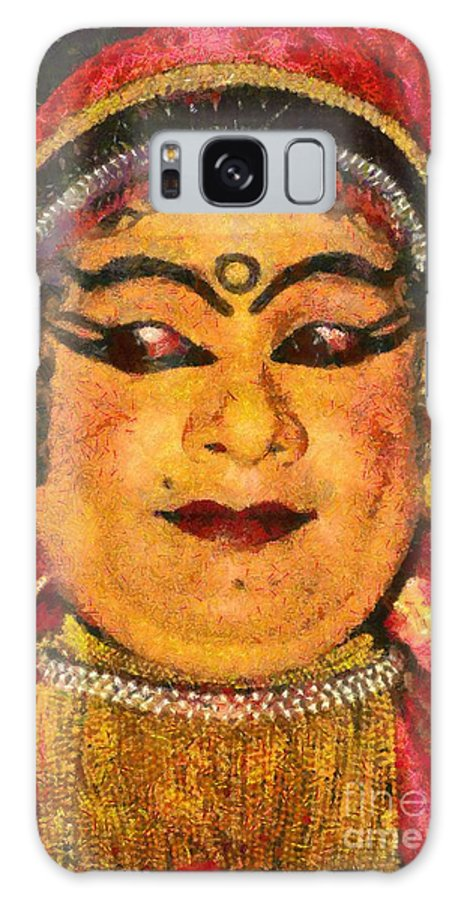Man; Adult; India; Kerala; Dance; Dancer; Actor; Katakali; Folklore; Local; Tradition; Traditional; Portrait; Face; Asia; East; Eastern; Holidays; Vacation; Travel; Trip; Voyage; Journey; Tourism; Touristic; Paint; Painting; Paintings Galaxy S8 Case featuring the painting Katakali Actor In India by George Atsametakis