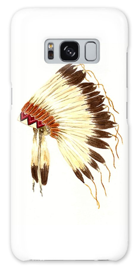 Ative American Indian Galaxy S8 Case featuring the painting Lakota Headdress by Michael Vigliotti