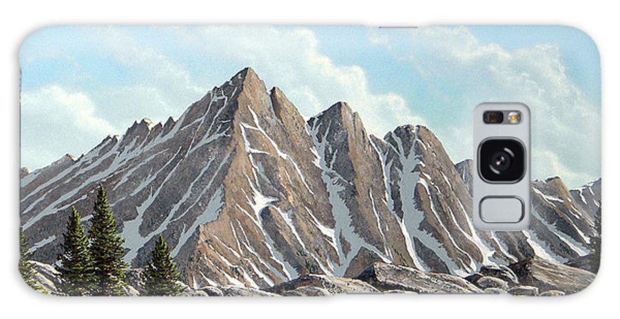 Landscape Galaxy S8 Case featuring the painting Lofty Peaks by Frank Wilson