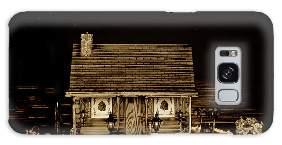 Miniature Log Cabin Galaxy S8 Case featuring the photograph Log Cabin Scene With The Classic Old Vintage 1959 Dodge Royal Convertible At Midnight In Sepia by Leslie Crotty