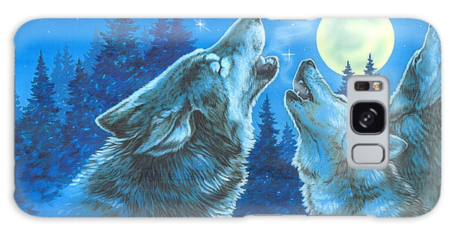 Wolves Galaxy S8 Case featuring the painting Moon Song by Richard De Wolfe