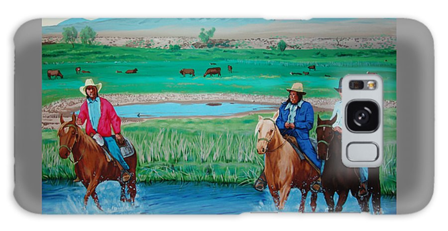 Canvas Prints Galaxy S8 Case featuring the painting Paiute Cattlemen by Joseph Juvenal
