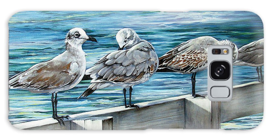 Seagulls Galaxy Case featuring the painting Pier Gulls by Joan Garcia