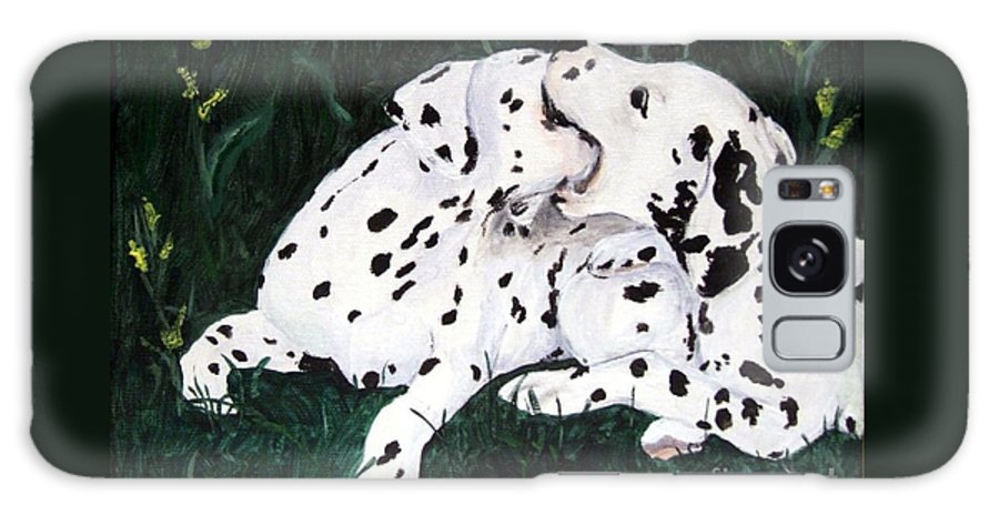 Dogs Galaxy S8 Case featuring the painting Playful Pups by Jacki McGovern