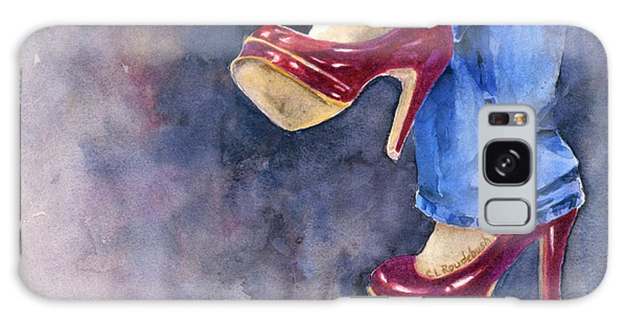 Figure Galaxy S8 Case featuring the painting Red Heels And Jeans by Cynthia Roudebush