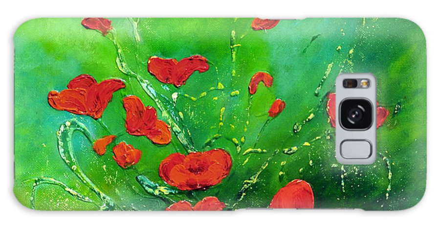 Acrylic Painting On Canvas Galaxy S8 Case featuring the painting Red Poppies by Teresa Wegrzyn